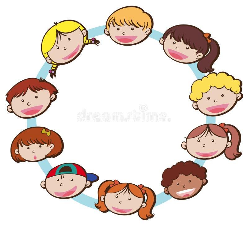 Cara feliz das crianças no fundo branco ilustração royalty free
