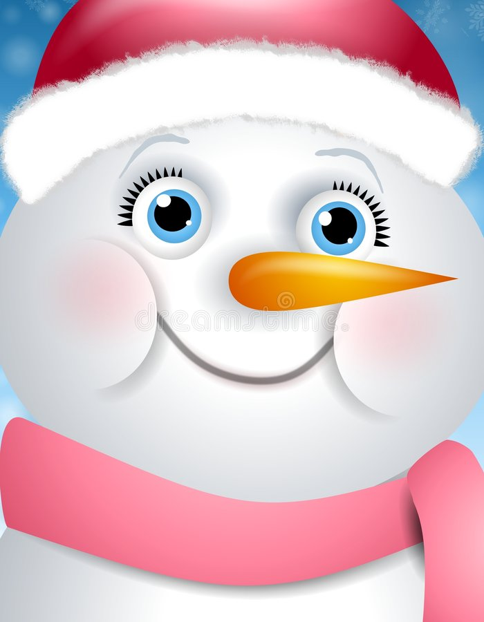 Cara feliz de la muchacha del muñeco de nieve ilustración del vector