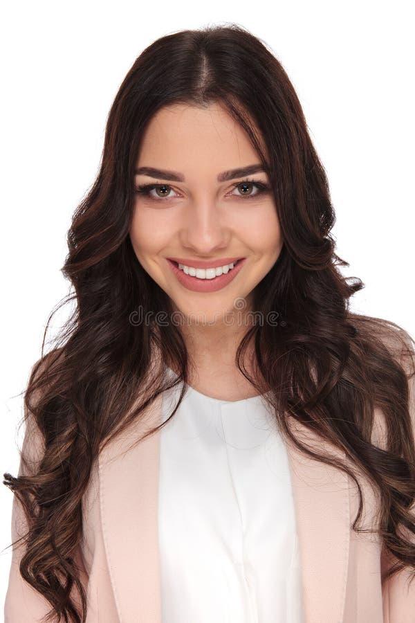 Cara feliz de una mujer de negocios hermosa fotografía de archivo libre de regalías