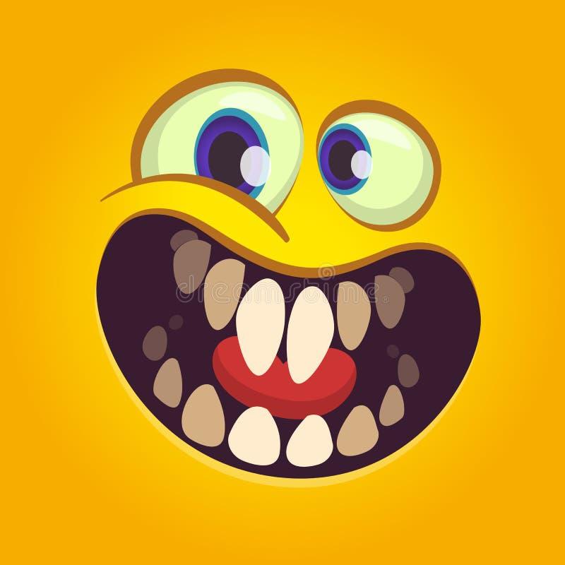 Cara feliz del monstruo de la historieta El vector Halloween excitó al monstruo anaranjado con sonrisa grande de la boca stock de ilustración