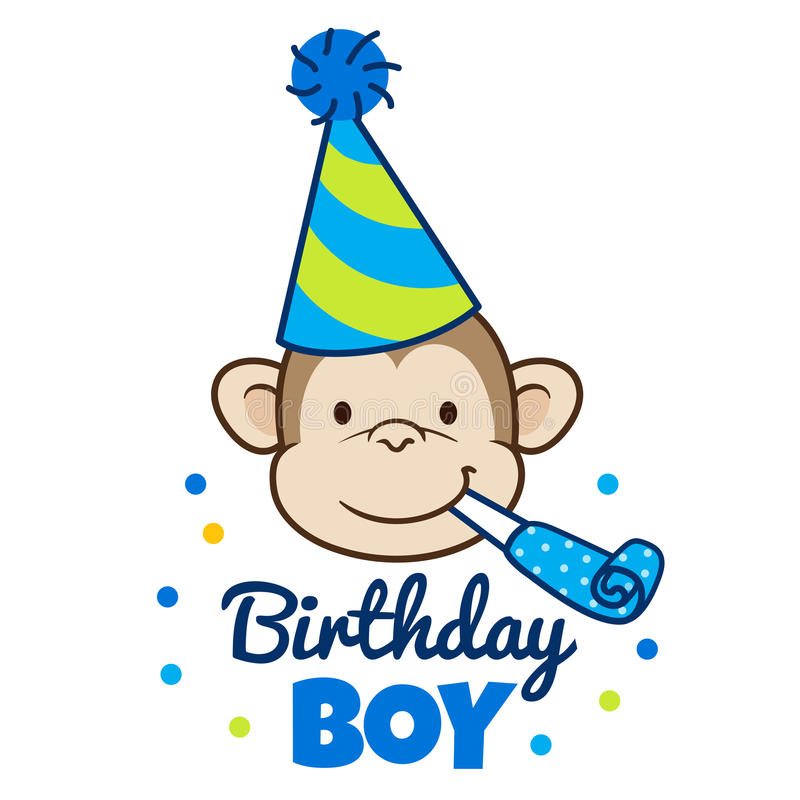 Cara feliz do macaco no chapéu do partido ilustração royalty free