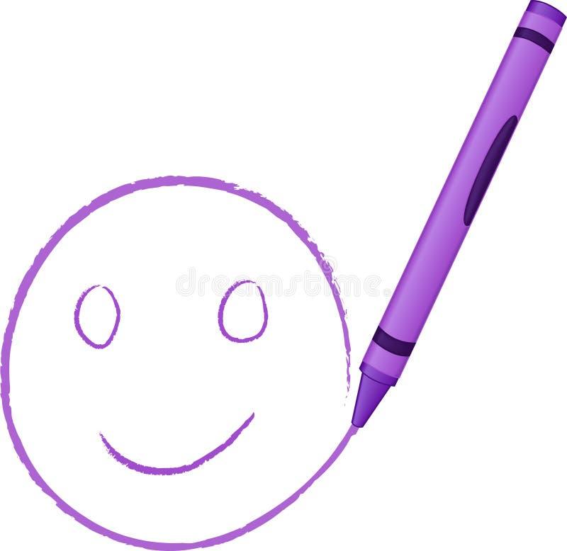 Cara feliz drenada creyón ilustración del vector