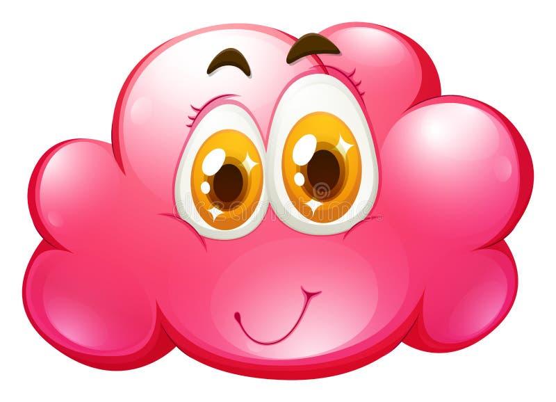 Cara feliz en la nube rosada ilustración del vector