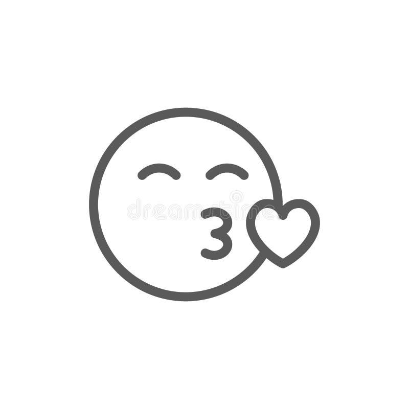 Cara feliz, línea icono del beso ilustración del vector