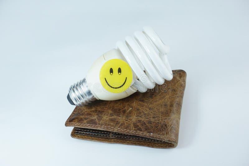 Cara feliz sonriente en bulbo ahorro de energía y la cartera de cuero aislados en el fondo blanco fotografía de archivo libre de regalías