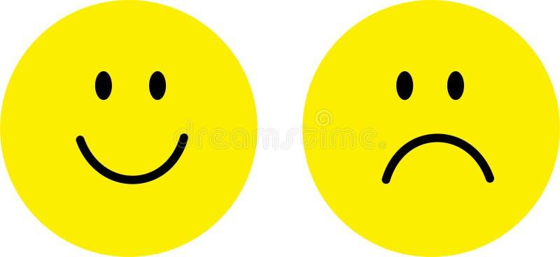 Cara feliz y triste ilustración del vector