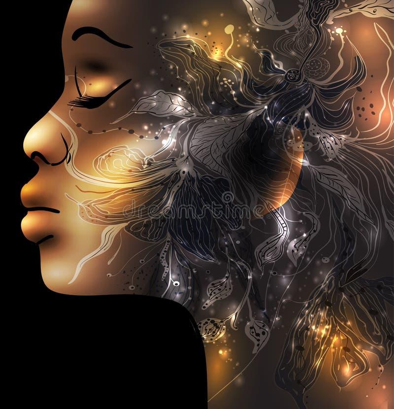 Cara femenina abstracta ilustración del vector