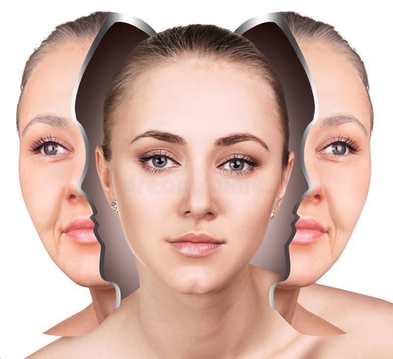 Cara femenina antes y después del rejuvenecimiento facial foto de archivo libre de regalías