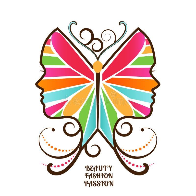 Cara femenina de la mariposa stock de ilustración