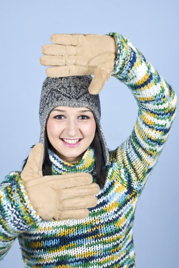Cara femenina del marco del invierno fotos de archivo