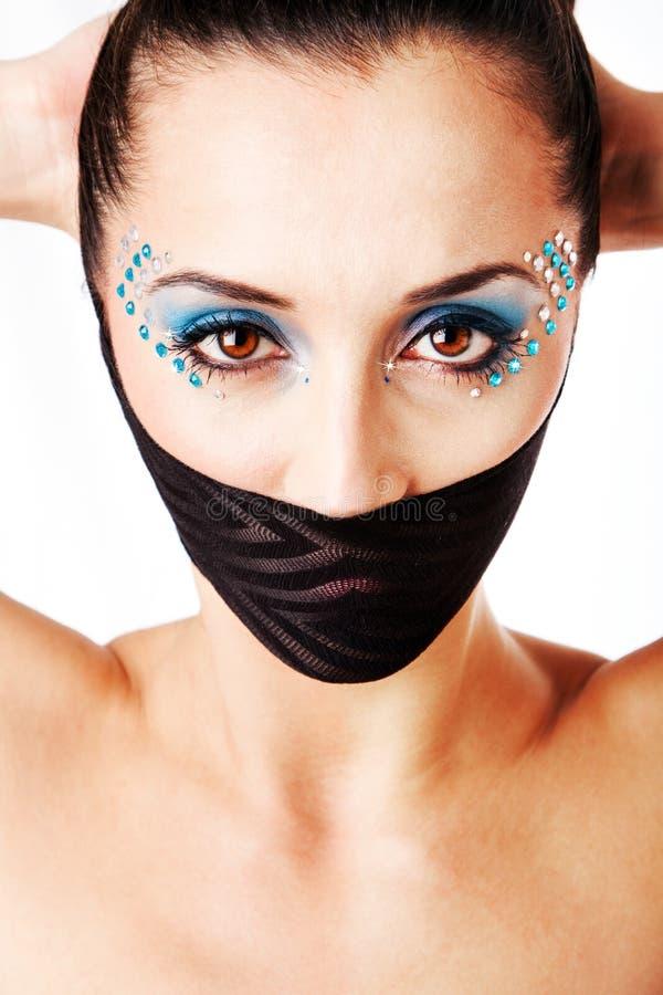Cara femenina hermosa de la manera fotografía de archivo libre de regalías