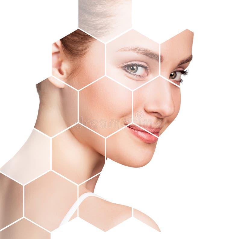 Cara femenina hermosa en panales Concepto del balneario imagen de archivo