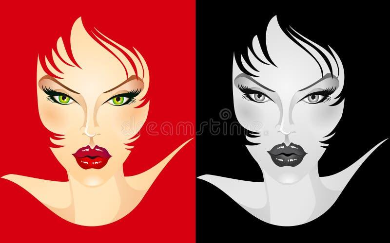 Cara femenina ilustrada stock de ilustración