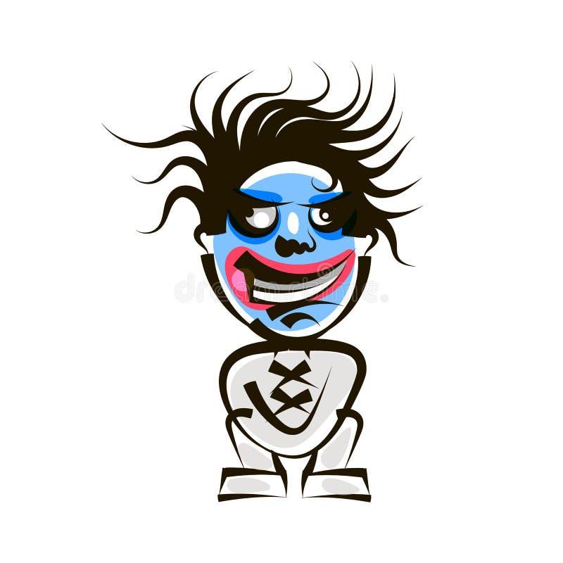 Cara fresca del monstruo del negro de la historieta stock de ilustración