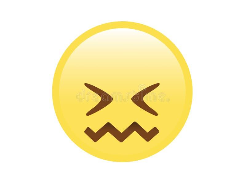 Cara furiosa, trastornada, infeliz amarilla con el icono de cierre de los ojos libre illustration