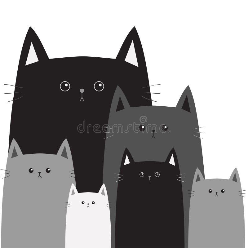 Cara gris negra de la cabeza del gato Centro grande de diverso tamaño pequeño Gatos en la esquina Sistema divertido de la familia stock de ilustración