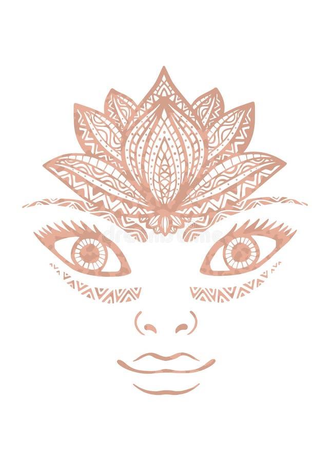 Cara hermosa adornada de la mujer del tatuaje de Rose de oro de la textura metálica de la hoja con la flor de loto decorativa com ilustración del vector