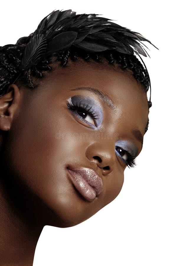 Cara hermosa de la mujer africana fotografía de archivo