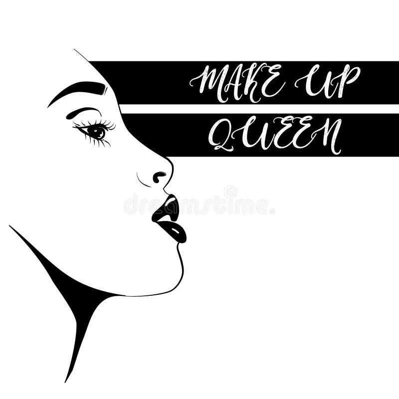 Cara hermosa de la mujer del vector Ejemplo del blogger de la belleza aislado en el fondo blanco La cara de la moda compone a la  ilustración del vector