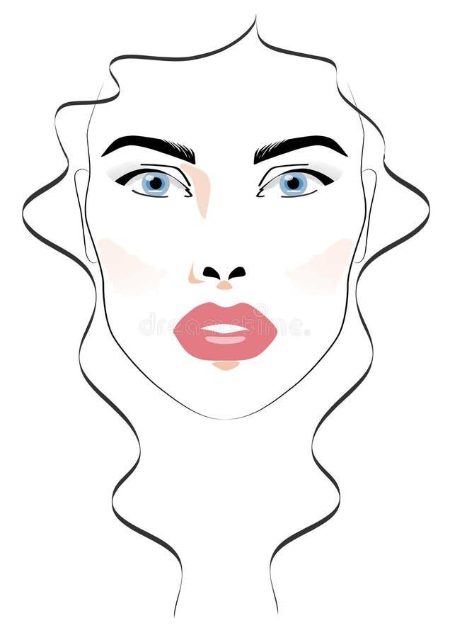 Cara hermosa de la mujer stock de ilustración