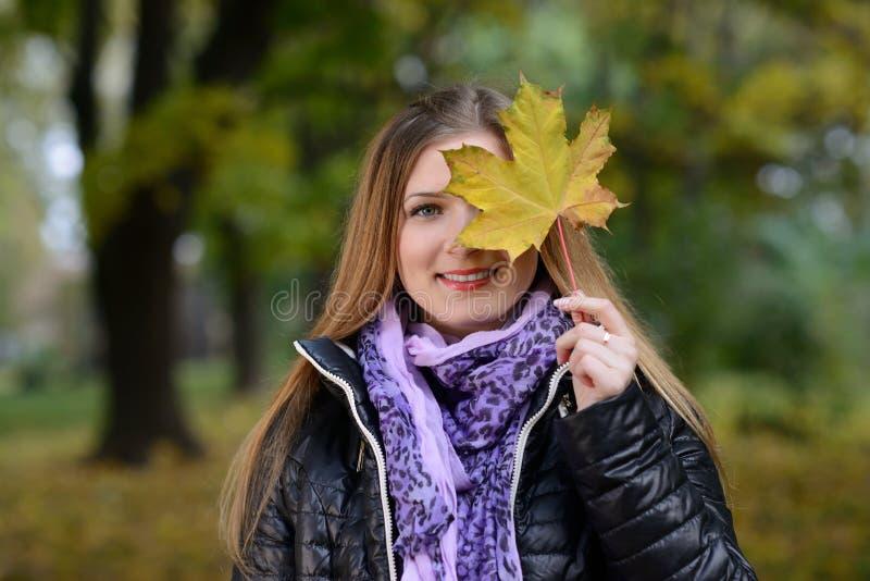 Cara hermosa de la mujer joven con una hoja fotos de archivo libres de regalías