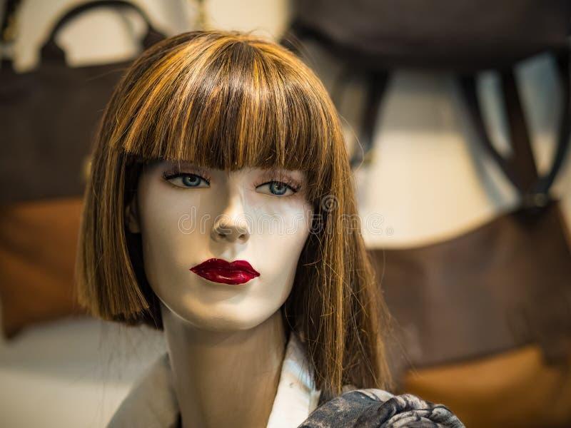 Cara hermosa de un maniquí femenino en una ventana de la tienda imagen de archivo