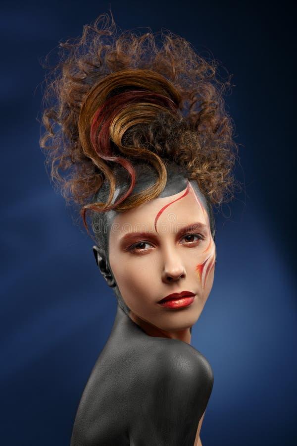 Cara hermosa del color de la mujer de la moda foto de archivo libre de regalías