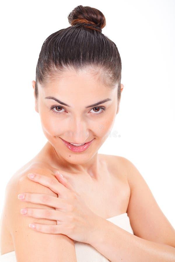 Cara hermosa del modelo de la mujer con maquillaje natural fotografía de archivo libre de regalías