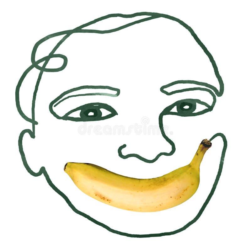 Cara humana dibujada a mano con foto de Banana para la boca fotos de archivo