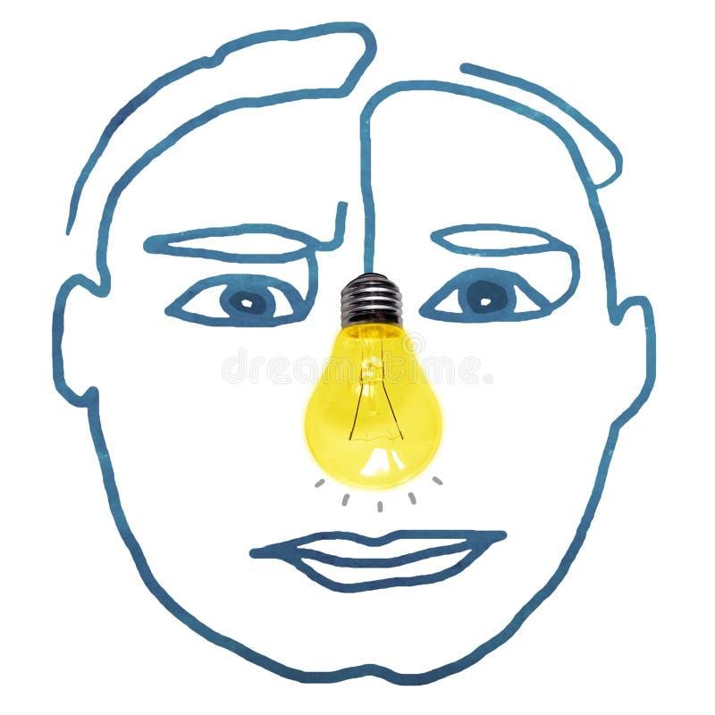 Cara humana dibujada a mano con foto de Light Bulb para la nariz foto de archivo