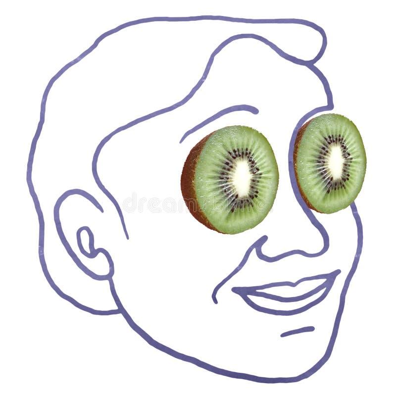 Cara humana dibujada a mano con fotos de las frutas de Kiwi para los ojos imágenes de archivo libres de regalías
