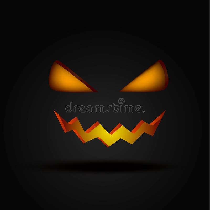 Cara iluminada assustador de Dia das Bruxas na ilustração escura do vetor Olhos e sorriso da abóbora ilustração do vetor