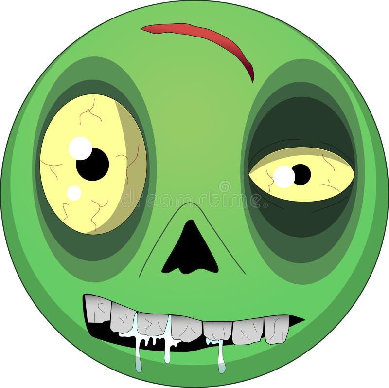 cara inoperante do homem dos 2d desenhos animados do zombi de Dia das Bruxas da ilustração do vetor ilustração do vetor