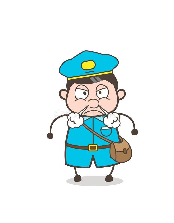 Cara irritada do Postboy com vapor da expressão do nariz ilustração stock