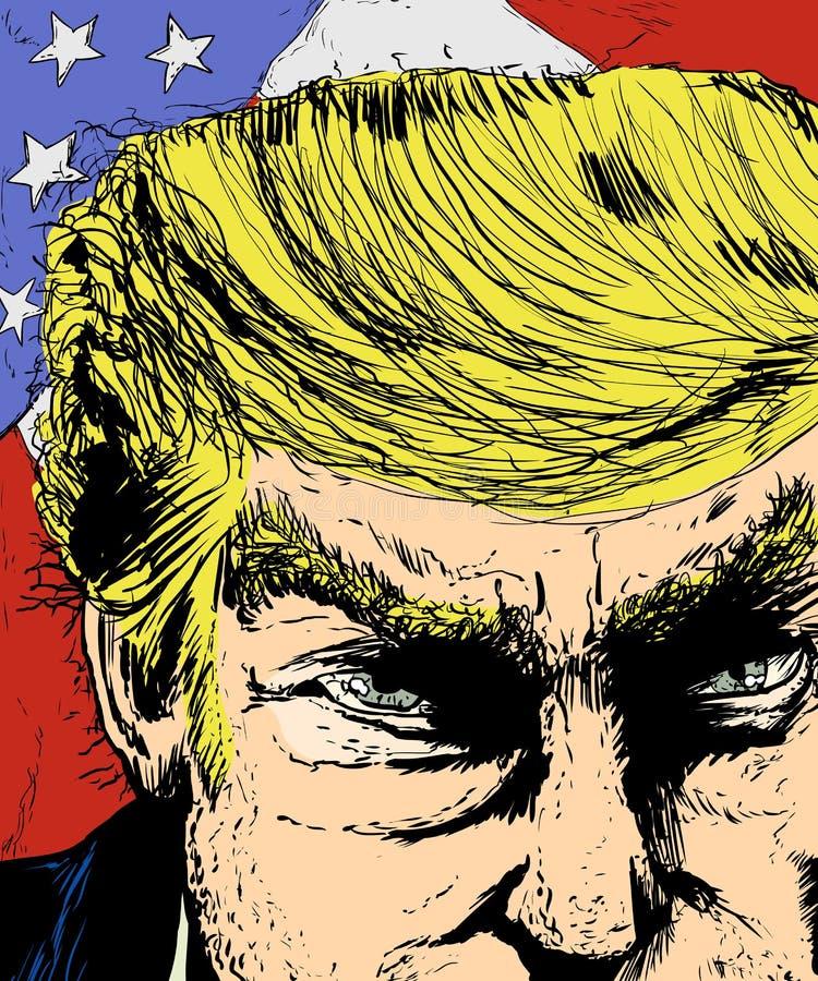 Cara irritada do trunfo e bandeira colorida ilustração stock