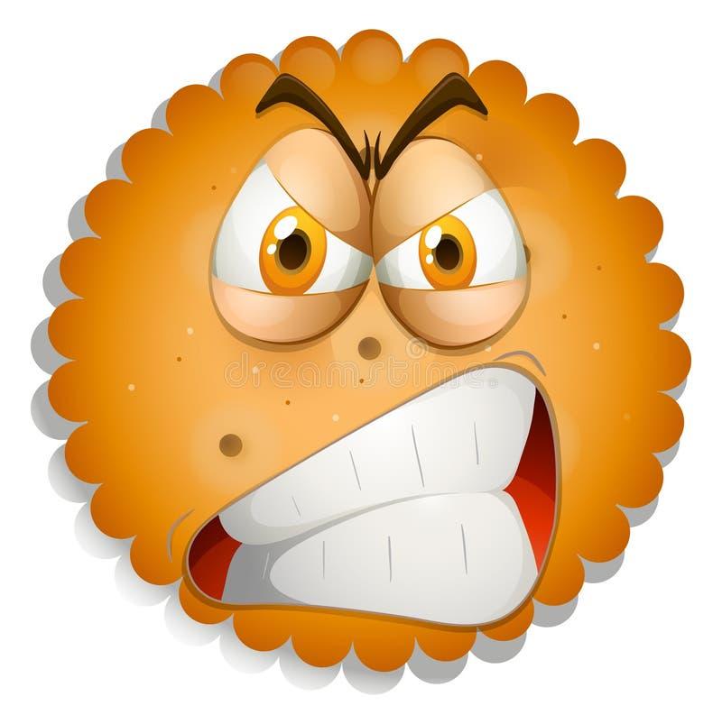 Cara irritada na cookie ilustração stock