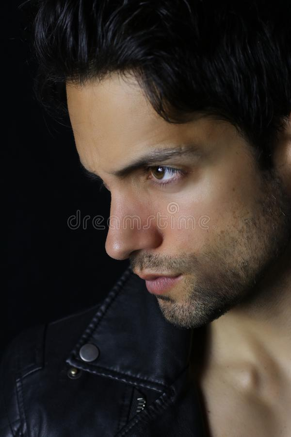 Cara lateral del hombre del hansdome foto de archivo libre de regalías