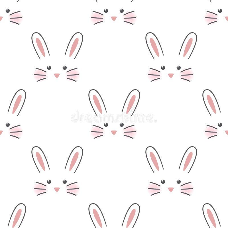 Cara linda del conejo stock de ilustración