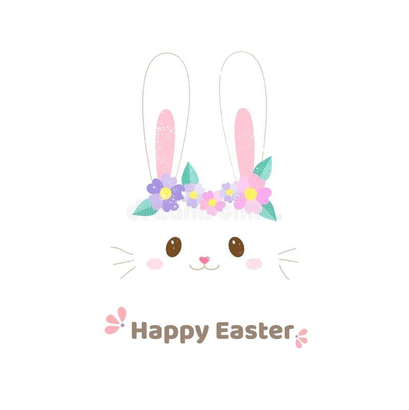 Cara linda del conejo con estilo exhausto de la mano de la bandera de pascua de las flores fotografía de archivo libre de regalías