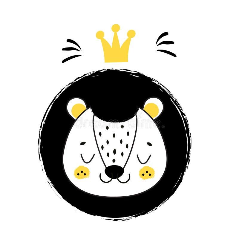 Cara linda del león Dé el león exhausto con la corona en estilo escandinavo Para los niños, niños e impresiones y diseño de la mo stock de ilustración