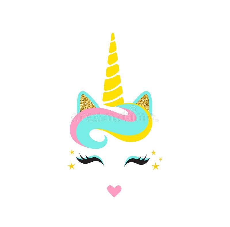 Cara linda del unicornio con el cuerno Cabeza del unicornio Diseño de tarjeta Elemento de los oídos del brillo del oro Labios lar libre illustration