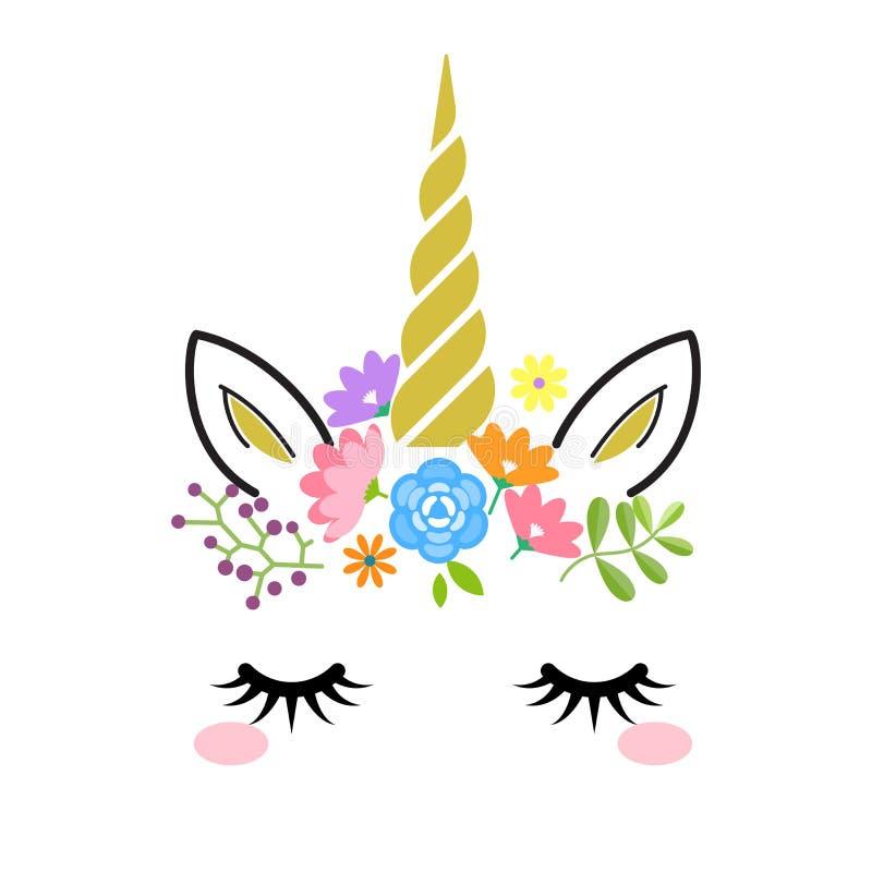 Cara linda del unicornio con el cuerno y las flores del oro aislados en el fondo blanco Ejemplo del personaje de dibujos animados stock de ilustración