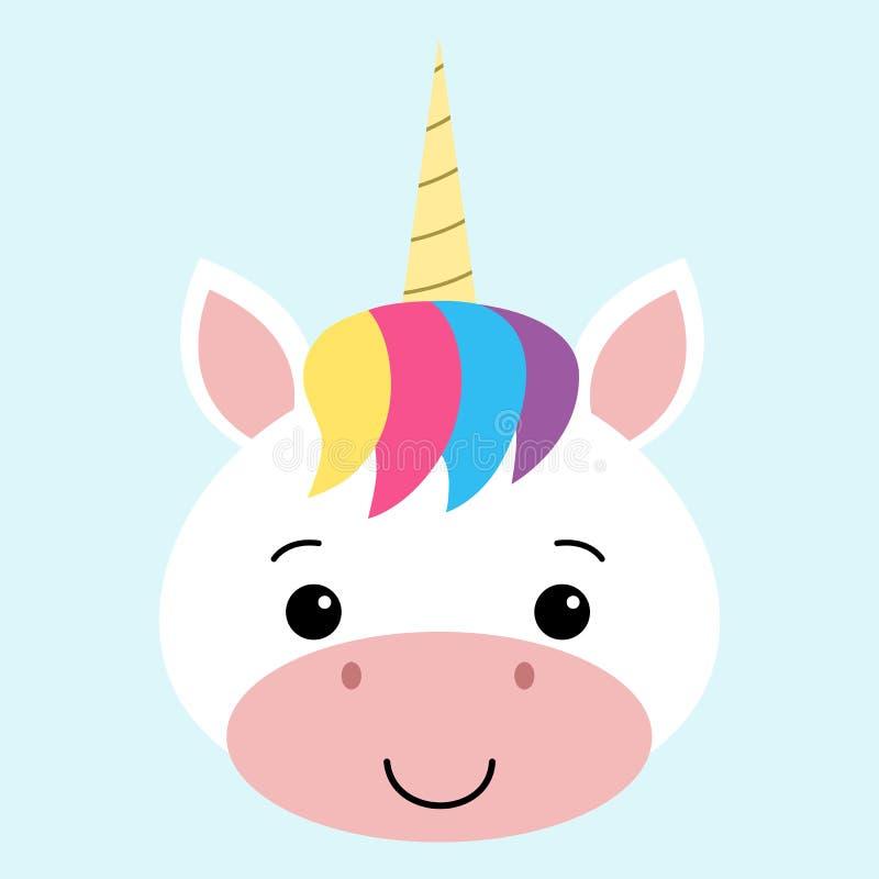 Cara linda del unicornio Diseño del ejemplo del personaje de dibujos animados del vector para la tarjeta del niño, camiseta stock de ilustración