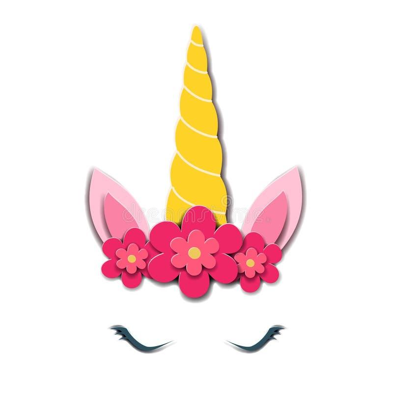 Cara linda del unicornio Estilo de papel Ilustración del vector Diseñe el elemento para las tarjetas de cumpleaños, invitaciones  stock de ilustración