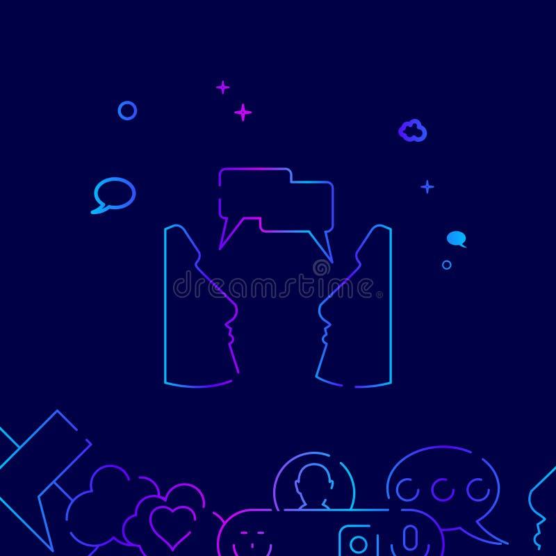 Cara a cara linha ícone do vetor da conversa, ilustração em um escuro - fundo azul Beira inferior relacionada ilustração stock