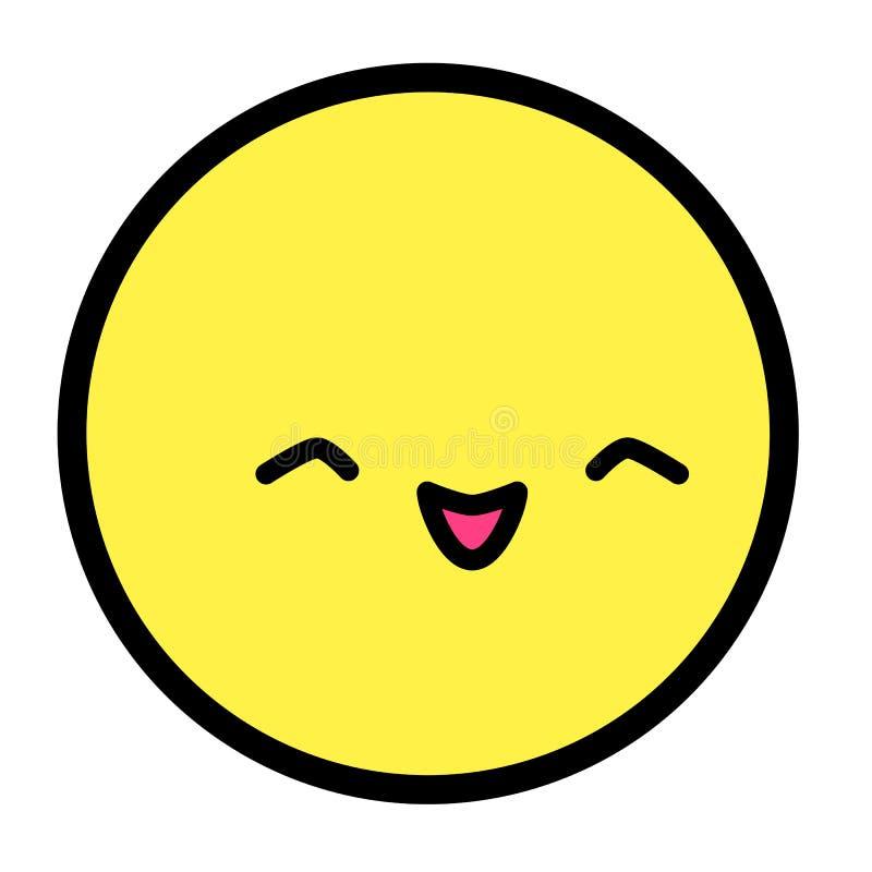 Cara lisa do emoji do kawaii Personagem de banda desenhada engraçado bonito Linha simples ícone da Web das expressões da arte Eti ilustração do vetor