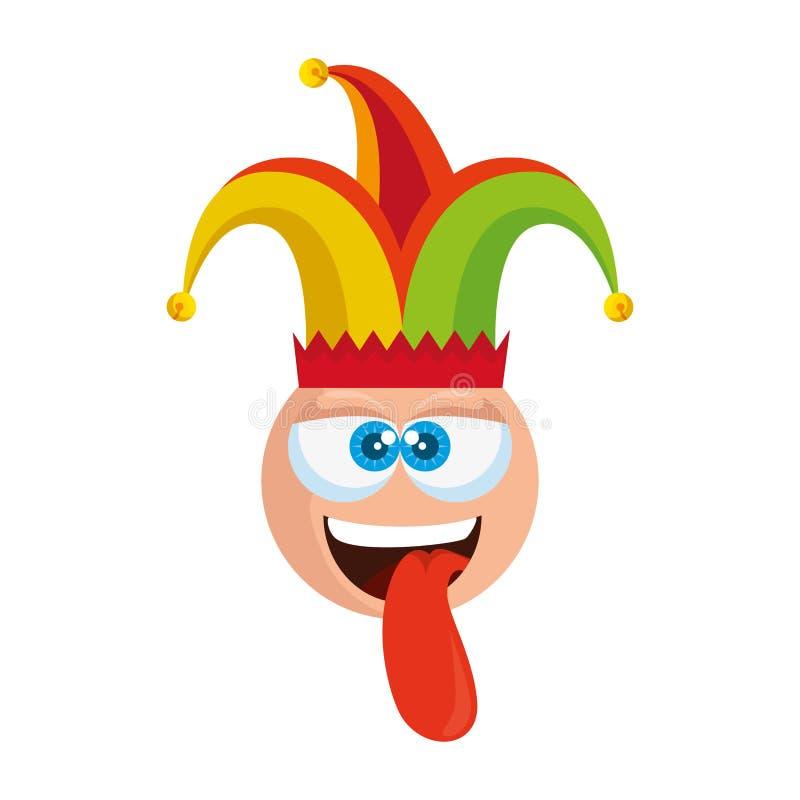 Cara loca del emoticon con día de los tontos del sombrero del bufón ilustración del vector