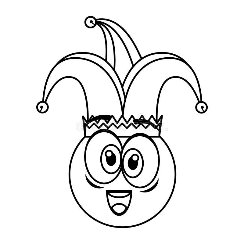 Cara loca del emoticon con día de los tontos del sombrero del bufón libre illustration