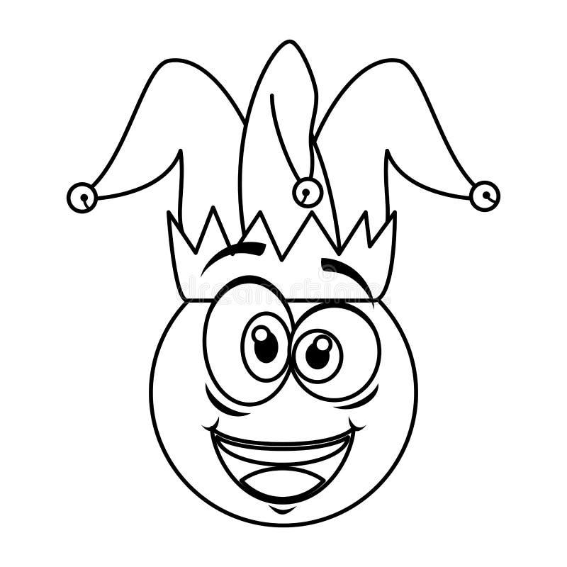 Cara loca del emoticon con día de los tontos del sombrero del bufón stock de ilustración