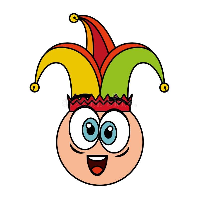 Cara loca del emoticon con d?a de los tontos del sombrero del buf?n stock de ilustración